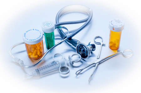 hospitalized: Medical tools used in the care of hospitalized patients Stock Photo