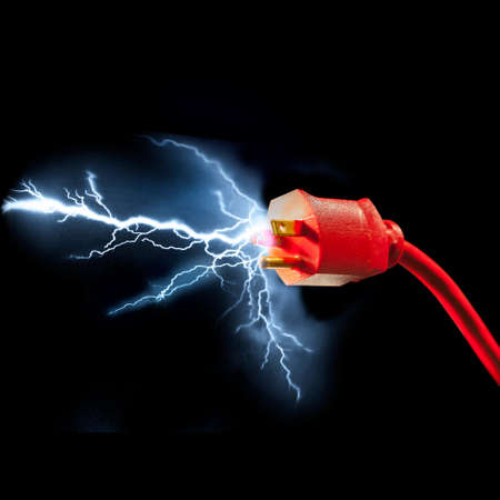 spark: Electrical plug with sparks flying out Stock Photo