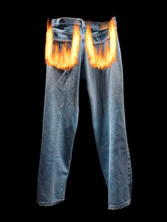 Pants on fire Stock Photo