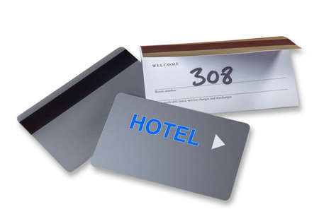 check in: Hotel keycards or cardkeys for electronic door lock, isolated Stock Photo