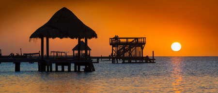Sunset on the tropical island of Roatan, Honduras