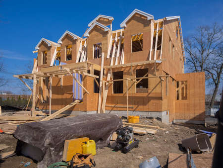 2x4 wood: New apartment condo construction