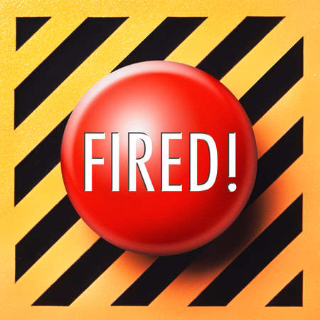 unemployed dismissed: Fired! push button in red on a yellow and black background
