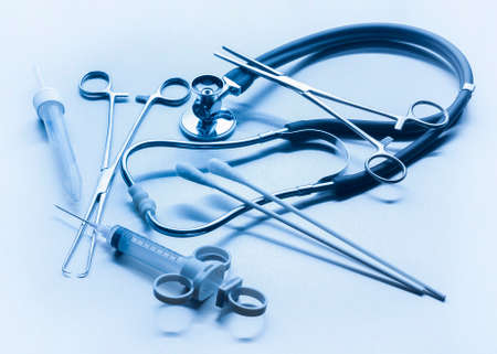 otorhinolaryngology: Medical instruments used by doctors in hospitals Stock Photo