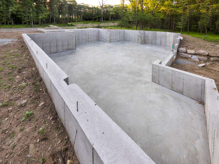 concrete construction: Concrete foundation for a new house