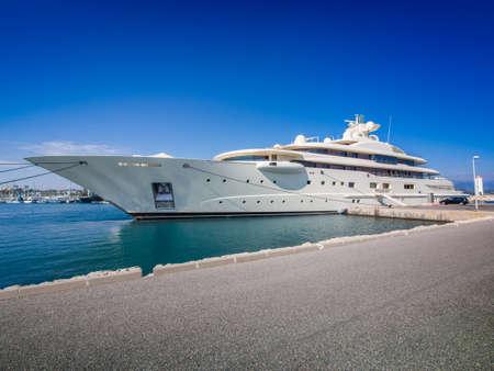 super yacht: Mega yacht docked in Antibes, France