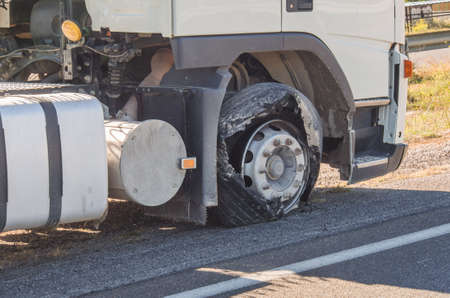 blown: Blown truck tire after tire explosion at high speed