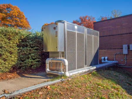 Unidad de refrigeración para usos industriales tales como mantener los productos farmacéuticos a las temperaturas correctas Foto de archivo