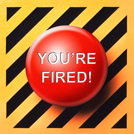 terminated: Youre Fired button Stock Photo