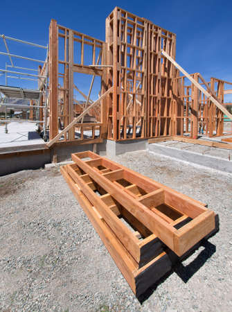 2x4 wood: Framing of a new house under construction Stock Photo