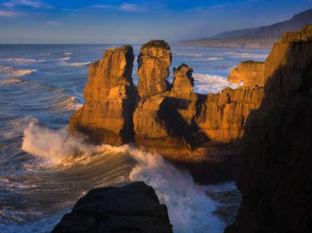 destination scenics: Punakaiki coastline at sunset, New Zealand