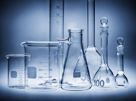 Different laboratory beakers and glassware.