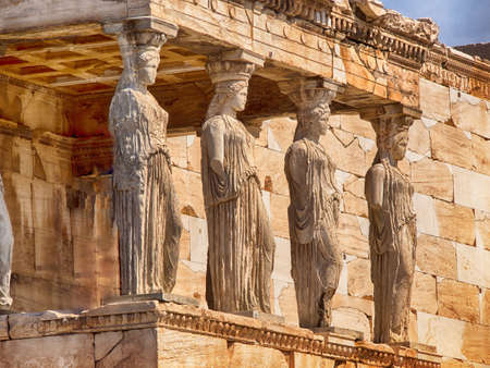 Detail of caryatids statues on the Parthenon on Acropolis Hill, Athens, Greece