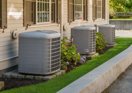 Heating and air conditioning inverter used to heat and cool condos 스톡 콘텐츠
