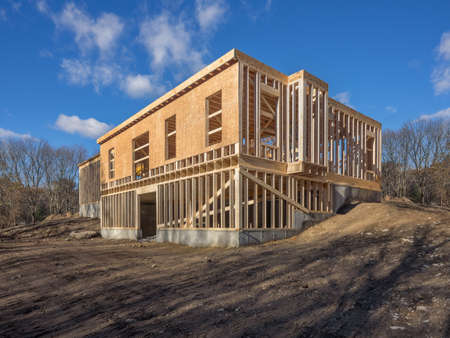New house construction framing Stock Photo