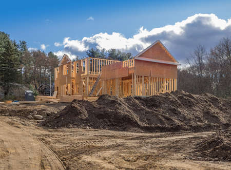New house construction framing in the city suburbs Imagens