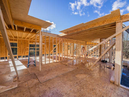 New house construction framing site