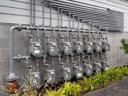 Gas meters outside an apartment complex