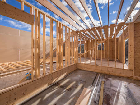 Interior framing of new housing project Stockfoto
