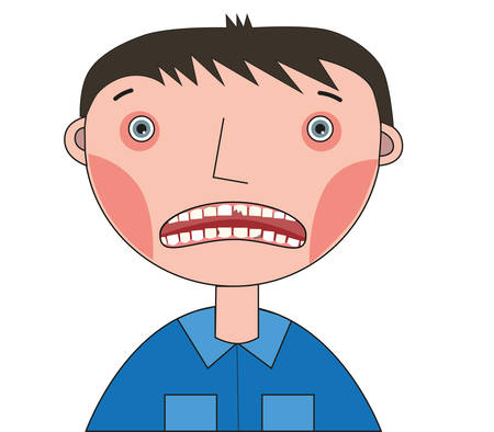 A boy with a broken front tooth and caries