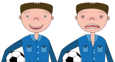 The guy with the soccer ball and the broken front tooth on one side and the guy with the healed tooth on the other
