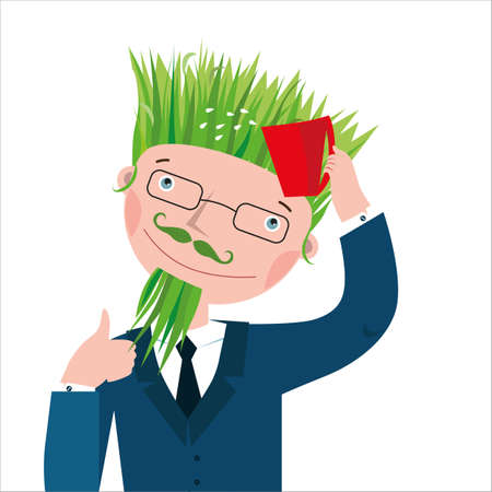 Businessman in a suit with grass on his head instead of hair