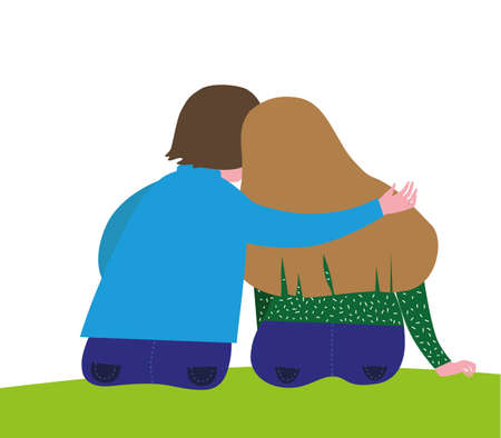 two people sitting in a hug with their backs to the viewer