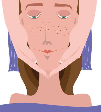Cosmetic procedure - facial massage Иллюстрация