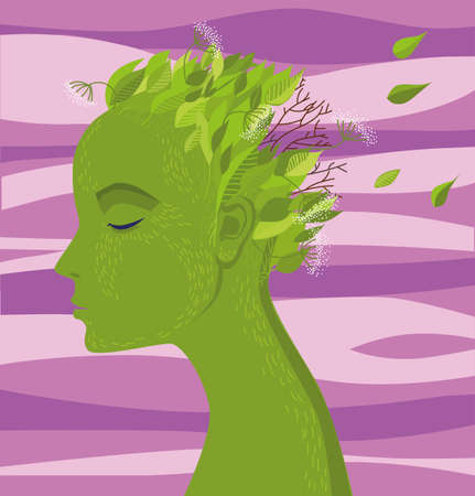 A female image in the form of a tree with green skin and leaves flying over her head