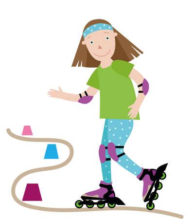 girl skates on roller skates