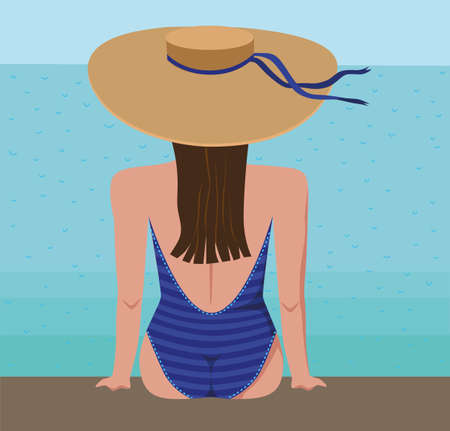 Female silhouette in a bathing suit and a straw hat on a background of the sea