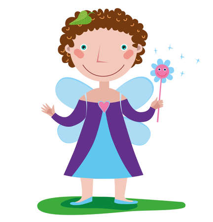 A little girl in a fairy costume holds a magic wand in her hand Ilustração