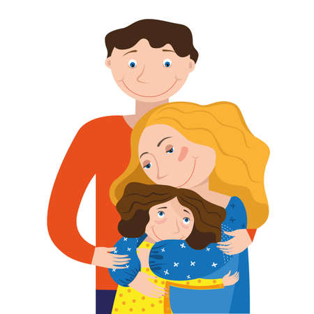 Mom dad and daughter hugging each other on a white background