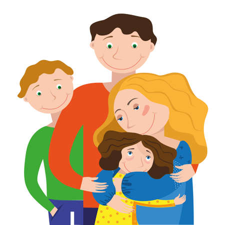 Mom dad and daughter and son hugging each other on a white background Illusztráció