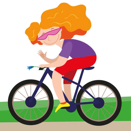 Young woman with long red hair on a bicycle