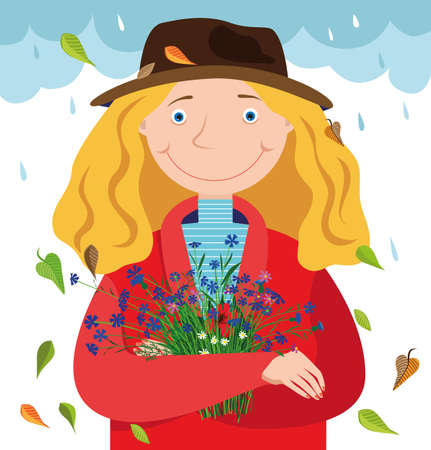 Young woman in a hat and autumn jacket with wildflowers in her hands. Against the background of falling leaves and raindrops