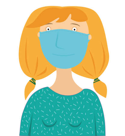 Cartoon woman in medical mask on white background
