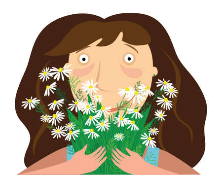 The girl holds a bouquet of daisies and laughs