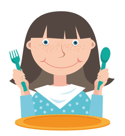 Girl with a spoon and fork in her hands in front of an empty plate waiting for food. White background