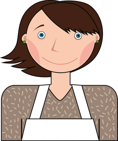 Woman in a white apron on a white background