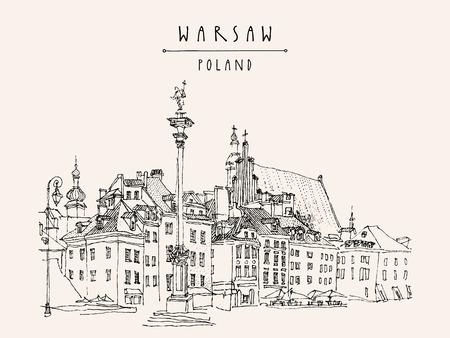 Castle Square in old center of Warsaw, Poland. Historic buildings. Travel sketch, hand lettering. Monochrome black and white vintage postcard template, vector illustration Illustration