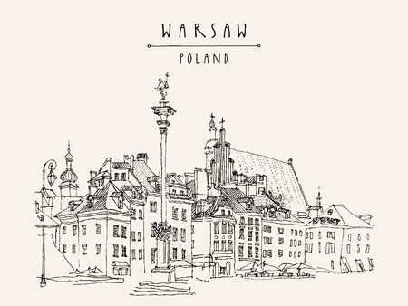 Castle Square in old center of Warsaw, Poland. Historic buildings. Travel sketch, hand lettering. Monochrome black and white vintage postcard template, vector illustration Vectores