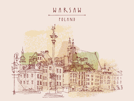 warsaw: Castle Square in old center of Warsaw, Poland. Historic buildings. Travel sketch, hand lettering. Artistic vintage postcard template, vector illustration