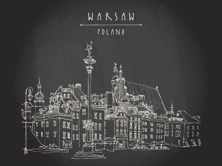 warsaw: Castle Square in old town of Warsaw, Poland. Historic buildings. Travel sketch, hand lettering. White chalk on black board. Black and white vintage postcard template, vector illustration