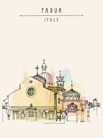Padua Cathedral in Padua, Veneto, Italy. Historical building sketchy line art. Freehand drawing. Travel sketch. Postcard template, vector illustration