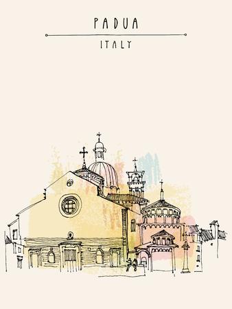 Padua Kathedrale in Padua, Italien. Historisches Gebäude lückenhaft Strichzeichnungen. Freihandzeichnen. Reise Skizze. Postkarte Vorlage, Vektor-Illustration Standard-Bild - 47488172