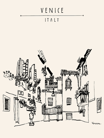 the courtyard: Awesome courtyard in Venice, Italy, Europe. Black and white vintage hand drawn postcard, vector illustration