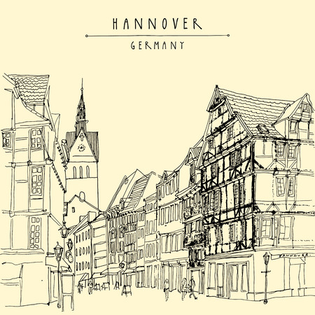 old town: Old town in Hanover, Germany, Europe. Pedestrian street with historic traditional German timbered houses and church belfry. Black and white touristic postcard, poster. Hannover Germany hand lettering, vector illustration