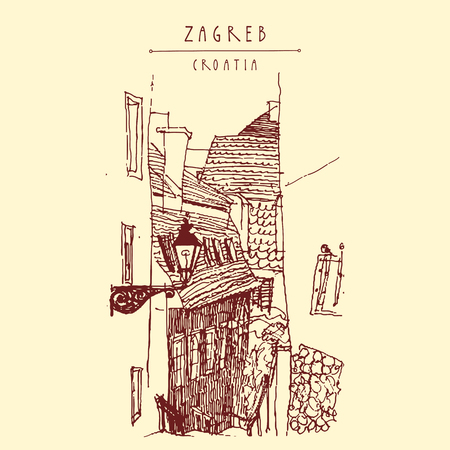 old town: Old town houses. Zagreb, Croatia, Europe. Vintage hand drawn postcard, vector illustration