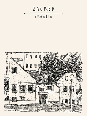 vintage postcard: Zagreb, Croatia, Europe. Vintage black and white hand drawn postcard, vector illustration